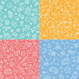 Set of simple monochrome seamless patterns with kids, sweets, toys Royalty Free Stock Photography