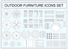Set of simple outdoor furniture vector icons as design elements Stock Photography