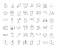 Outline party icons. Set of simple outline party icons, expand stroke Stock Images