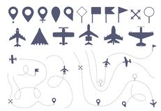 Set of simple plane route line. vector illustration