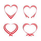 Set of simple red hearts Royalty Free Stock Photo