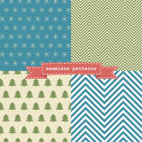Set of simple retro Christmas patterns Royalty Free Stock Image