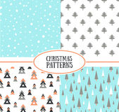 Set of simple retro Christmas patterns. Royalty Free Stock Images
