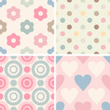 Set of simple romantic patterns Stock Photos