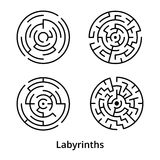 Set of simple round labyrinths with entrance and exit. On white background Stock Images
