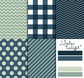 Set of 5 simple seamless geometric patterns. Winter twilight color palette. Set of 5 simple seamless geometric patterns. Winter twilight Royalty Free Stock Images