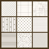 Set of 9 simple seamless monochrome patterns Royalty Free Stock Photography