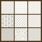 Set of 9 simple seamless monochrome patterns. Part 2 stock illustration