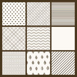 Set of 9 simple seamless monochrome patterns Royalty Free Stock Images