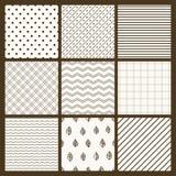 Set of 9 simple seamless monochrome patterns. Part 5 vector illustration