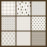 Set of 9 simple seamless monochrome patterns Stock Photos