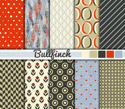 Set of 10 simple seamless patterns. 'Bullfinch' color palette royalty free illustration