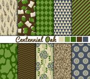 Set of 10 simple seamless patterns. 'Centennial Oak' color palette stock illustration