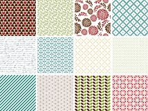 Set of 12 simple seamless patterns. Colorful collection of tileable backgrounds in vector format Royalty Free Stock Photography