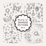 Set of simple seamless patterns with hand drawn elements. Stock Photography