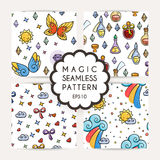 Set of simple seamless patterns with hand drawn elements. Royalty Free Stock Photo