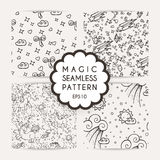 Set of simple seamless patterns with hand drawn elements. Stock Photo
