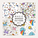 Set of simple seamless patterns with hand drawn elements. Royalty Free Stock Photography