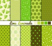 Set of 10 simple seamless patterns. 'Lime Lemonade' color palette royalty free illustration