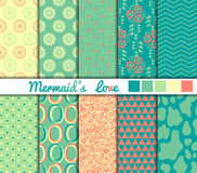 Set of 10 simple seamless patterns. 'Mermaid's. Love stock illustration
