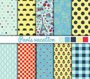 Set of 10 simple seamless patterns. 'Paris vacation' color palette Stock Images