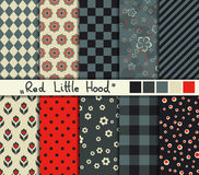 Set of 10 simple seamless patterns. Red Little Hood color palette stock illustration