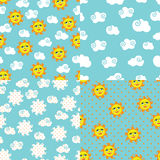 Set simple seamless patterns with sun,sky,clouds Royalty Free Stock Photography