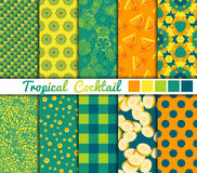 Set of 10 simple seamless patterns. 'Tropical. Cocktail Stock Image