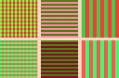 A set of simple seamless striped and chequered patterns of blue and pink. A set of bright simple seamless striped and chequered patterns of green and red for Royalty Free Stock Photos