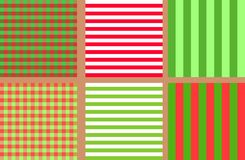 A set of simple seamless striped and chequered patterns of blue and pink. A set of bright simple seamless striped and chequered patterns of green and red for Stock Photo