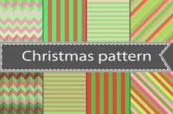 A set of simple seamless striped and chequered patterns of blue and pink. Set of winter red and green variety of seamless patterns - horizontal, vertical and Stock Photos