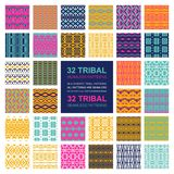Set of 32 simple seamless vector ornament. Tribal patterns. Vector illustration Stock Illustration
