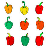 Set simple sketch icon peppers Royalty Free Stock Photography