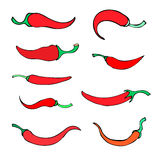 Set simple sketch icon peppers Royalty Free Stock Photos