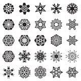 Set of Simple Snowflake Icon Isolated on White Background. Set of Simple snowflake icon with dots and round elements isolated on white background. Snow flake royalty free illustration