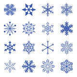 Set of simple snowflakes. Royalty Free Stock Photo