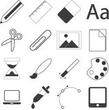 Set of simple stationery and business icons vector illustration