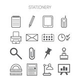 Set of simple stationery and business icons Royalty Free Stock Photo