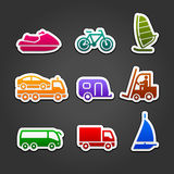 Set simple stickers color transport Royalty Free Stock Images
