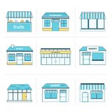 Set of simple store building icons Royalty Free Stock Images
