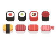 Set of simple sushi icons, geometric flat vector style. Stock Images