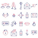 A set of simple symbols for Valentine`s day vector illustration
