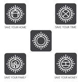 Set of simple   on the theme of finance and insurance. Set of simple  icons on the theme of finance and insurance Royalty Free Stock Image