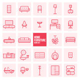 Set of simple thin line design home furniture vector icons set for web Royalty Free Stock Photos