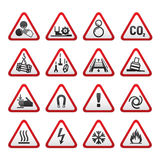 Set Simple of Triangular Warning Hazard Signs Stock Photos