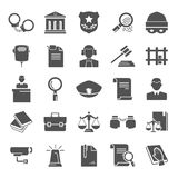Set of simple universal justice and law flat icons for web and mobile design Royalty Free Stock Photography