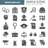 Set of simple universal justice and law flat icons for web and mobile design Stock Images