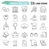 Set of simple universal line justice and law flat icons for web and mobile design Royalty Free Stock Images
