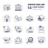 Set of simple universal line justice and law flat icons for web and mobile design Stock Images