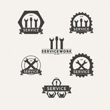 Set of simple vector emblems workshop maintenance Royalty Free Stock Photography